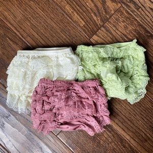 Baby Bloomers - Set of 3 - Pink, Green, Cream NWOT